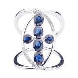 Кольцо из золота с бриллиантами и синими сапфирами Рождена