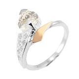 Серебряное кольцо с золотой вставкой и фианитами Валентинка