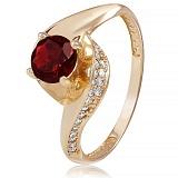 Золотое кольцо Монпелье с гранатом и фианитами