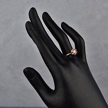 3олотое кольцо Ландыш в красном цвете с фианитами