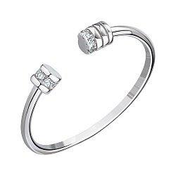 Кольцо с открытой шинкой из белого золота с фианитами 000147218