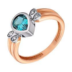 Золотое кольцо Сигурни в комбинированном цвете с нанотопазом лондон и фианитами