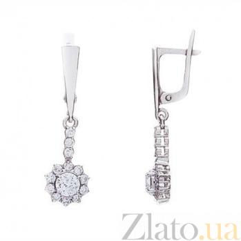 Серебряные серьги подвески с белым цирконом AQA--72529б