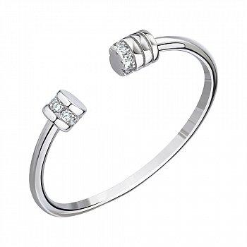 Кольцо с открытой шинкой из серебра с фианитами 000147218