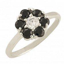 Серебряное кольцо Николетта с синим сапфиром и фианитами