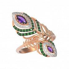 Золотое кольцо Жар-птица с аметистами, зелеными и белыми фианитами