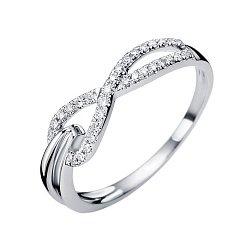 Золотое кольцо в белом цвете с асимметричной шинкой и бриллиантами, 0,13ct 000070664