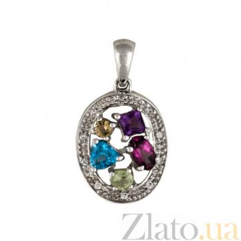 Золотой подвес с аметистом, перидотом, топазом, турмалином, цитрином и бриллиантами Эльвира 000038421