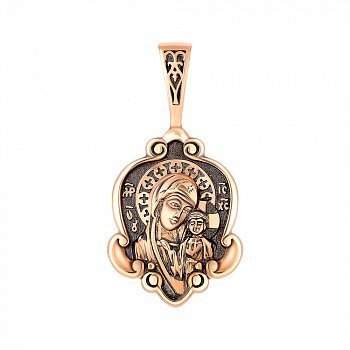 Ладанка из красного золота Казанская Божия Матерь с чернением 000141347