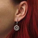 Серебряные серьги Спираль плавающих камней с фианитами