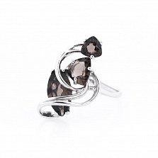 Серебряное кольцо Агнесса с раухтопазом
