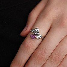 Серебряное кольцо с фианитами Love you