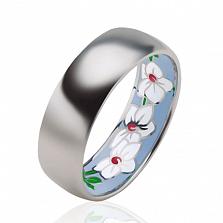 Эксклюзивное мужское обручальное кольцо Чудесная Орхидея с эмалью