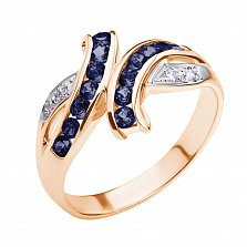 Кольцо из красного золота с сапфирами и бриллиантами Арника