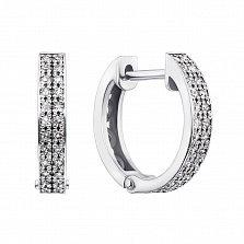 Золотые серьги-колечки Дора в белом цвете с бриллиантами