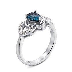 Серебряное кольцо с топазом лондон и фианитами 000132119