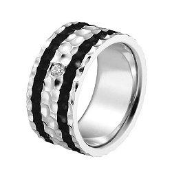 Серебряное кольцо с карбоном и фианитом 000024246