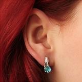Серебряные серьги Теолла с голубым кварцем и фианитами