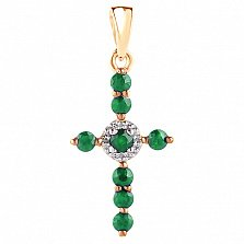 Крестик в красном золоте Восхищение с изумрудом и бриллиантами
