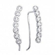 Серебряные серьги-каффы Темина с завальцованными белыми фианитами