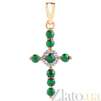 Крестик в красном золоте Восхищение с изумрудом и бриллиантами SVA--3101399201/Изумруд