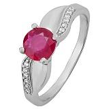 Серебряное кольцо с рубином Свирель