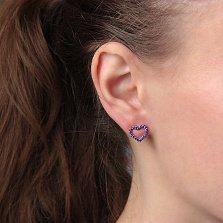 Серебряные пуссеты Любимые с фиолетовым цирконием