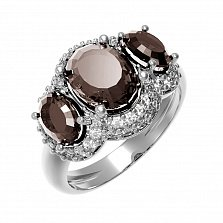 Серебряное кольцо Аврора с раухтопазом и фианитами
