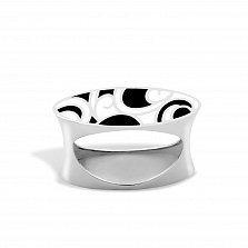 Серебряное кольцо Native  с черной и белой эмалью