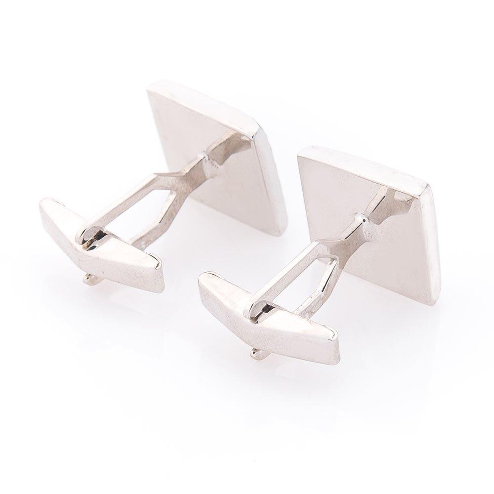 Серебряные запонки Аскольд с родием и алмазной гранью
