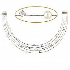 Колье из белого золота Аланис с имитацией жемчуга и фианитами
