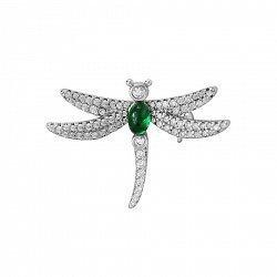 Срібна брошка Бабка з доріжками фіанітів і ювелірним склом зеленого кольору 000119625