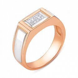 Перстень-печатка в комбинированном цвете золота с фианитами и родированием 000136951