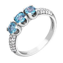 Серебряное кольцо Марта с топазом и фианитами