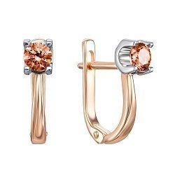 Золотые серьги в комбинированном цвете с кристаллами Swarovski 000133881