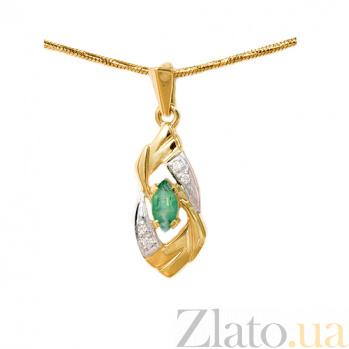 Подвес из желтого золота с изумрудом и бриллиантами Лафона 000021634