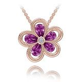 Колье из розового золота Эдем: Цвет аромата с аметистами и бриллиантом