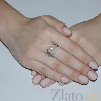 Серебряное кольцо Алевтина с белым жемчугом 1716/9р б жем