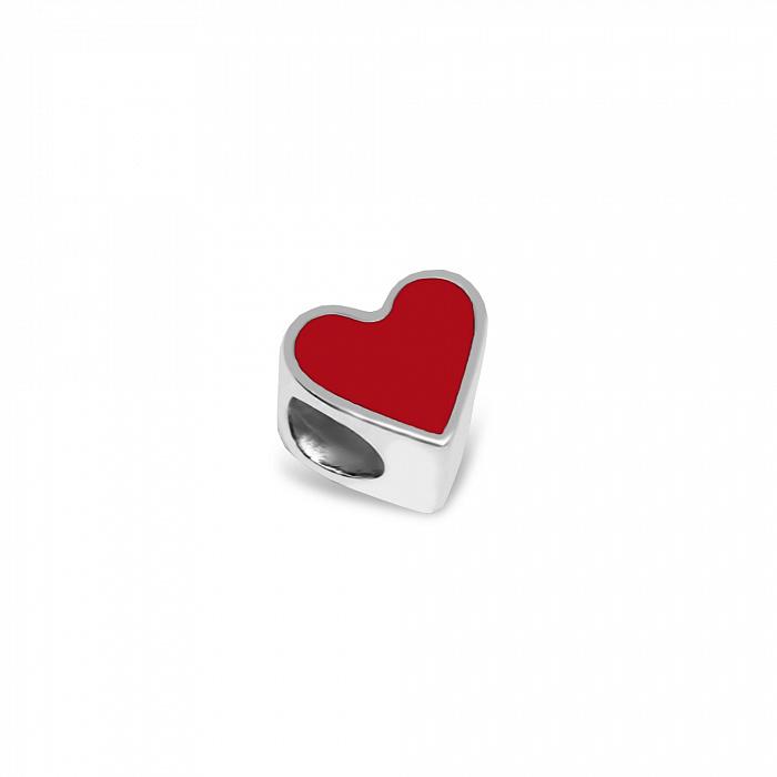 Серебряный шарм Сердечко с красной эмалью 000079129