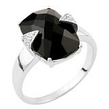 Серебряное кольцо Пальмира с ониксом и фианитами