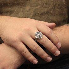 Серебряный перстень-печатка Фамильный герб с изображениями щита, льва и короны