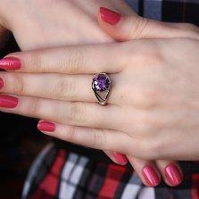 Серебряное кольцо Лиллак с фианитом под аметист
