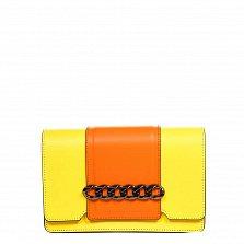 Кожаный клатч 1663 в желтом цвете с оранжевыми вставками, декоративным элементом и ремнем на плечо