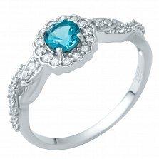 Серебряное кольцо Хиллари с лондон топазом и фианитами