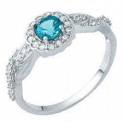 Серебряное кольцо с лондон топазом и фианитами 000074755