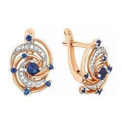 Позолоченные серебряные серьги с синим цирконием 000029155