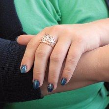 Серебряное кольцо Ажурная мелодия с золотыми накладками и белыми фианитами