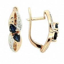 Золотые серьги с бриллиантами и сапфирами Жюли