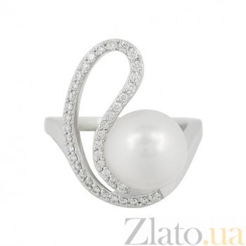 Золотое кольцо с жемчугом и бриллиантами Морская бухта 000026908