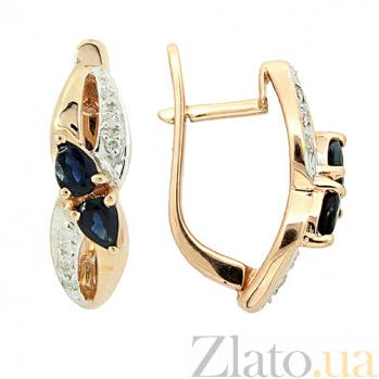 Золотые серьги с бриллиантами и сапфирами Жюли ZMX--EDS-6752_K
